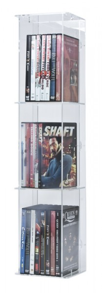 DVD tower with transparent back-panel